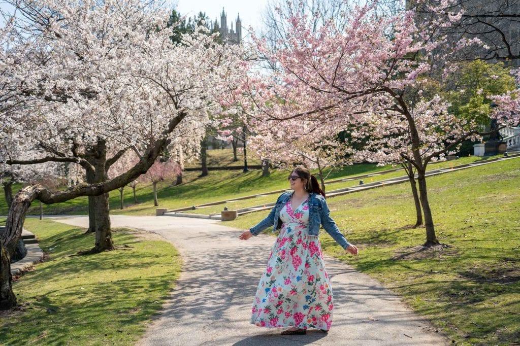 Amanda at Wade Lagoon in spring