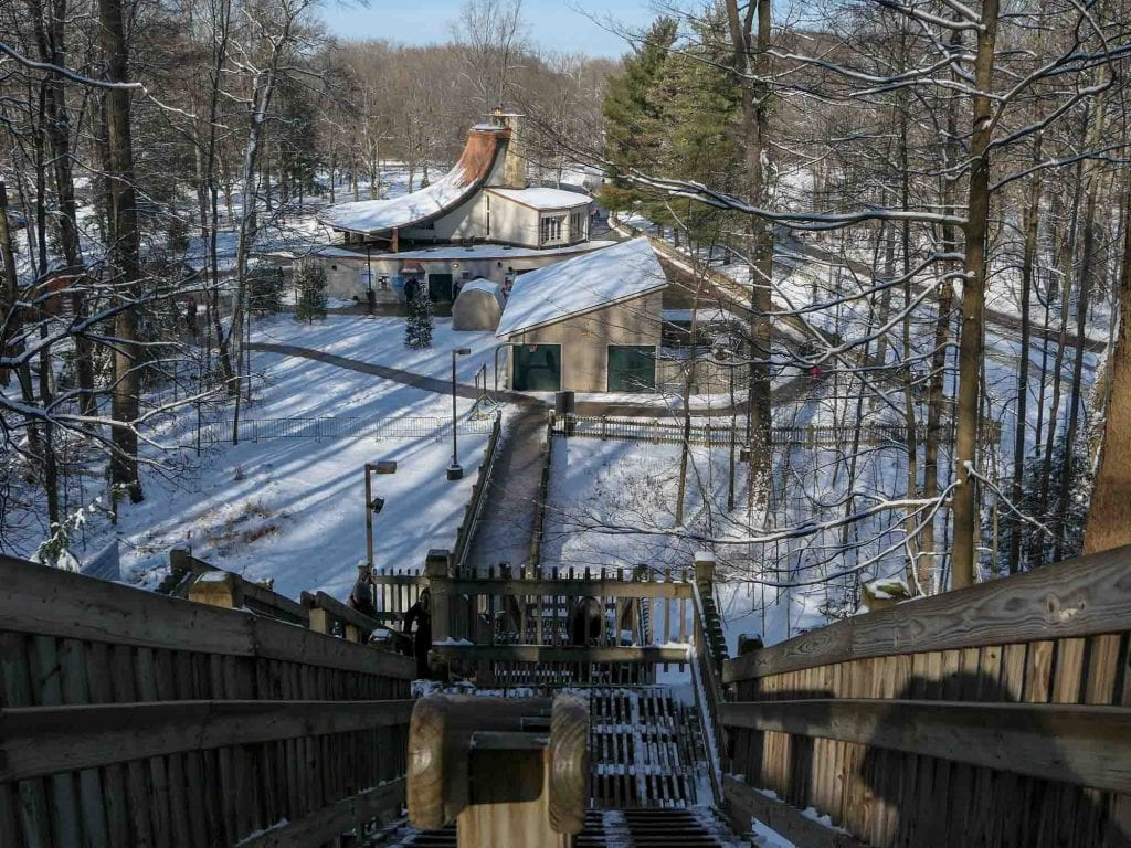 Toboggan chute stairs at the Chalet