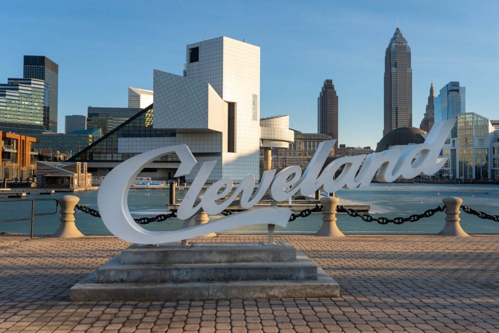 Cleveland script sign at North Coast Harbor