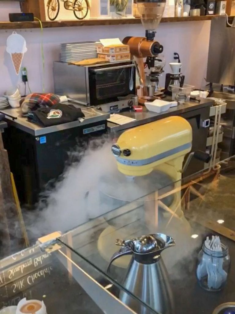 Liquid nitrogen ice cream being made at Piccadilly Artisan Creamery