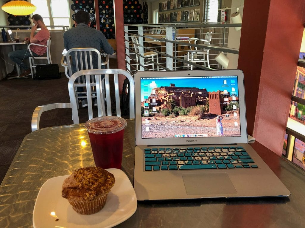 Laptop at a table in LOOP in Tremont