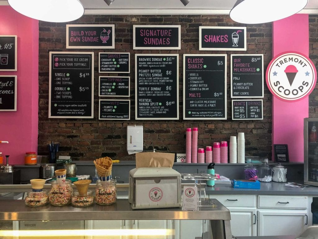 Inside Tremont Scoops ice cream shop