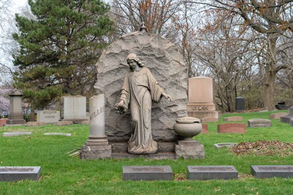 Funerary sculpture at Lake View Cemetery