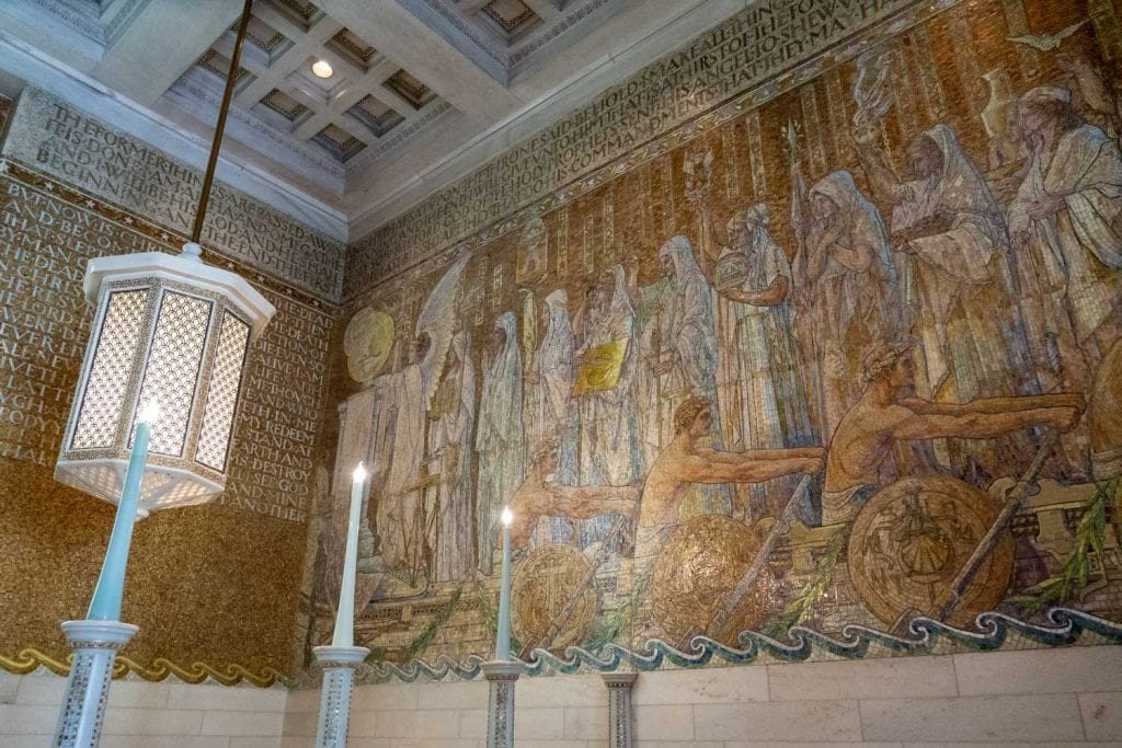 Mosaic wall in side Wade Memorial Chapel