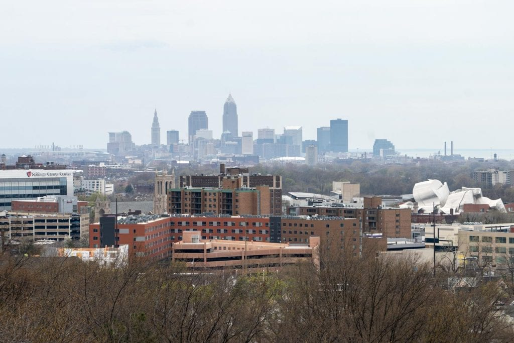 View of Cleveland from Lake View Cemetery