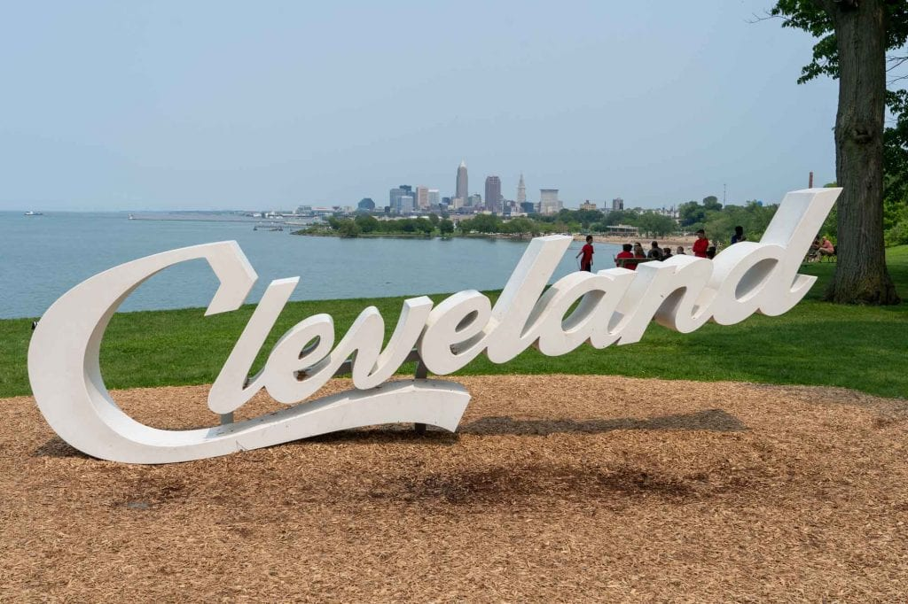 Cleveland script sign at Edgewater Park