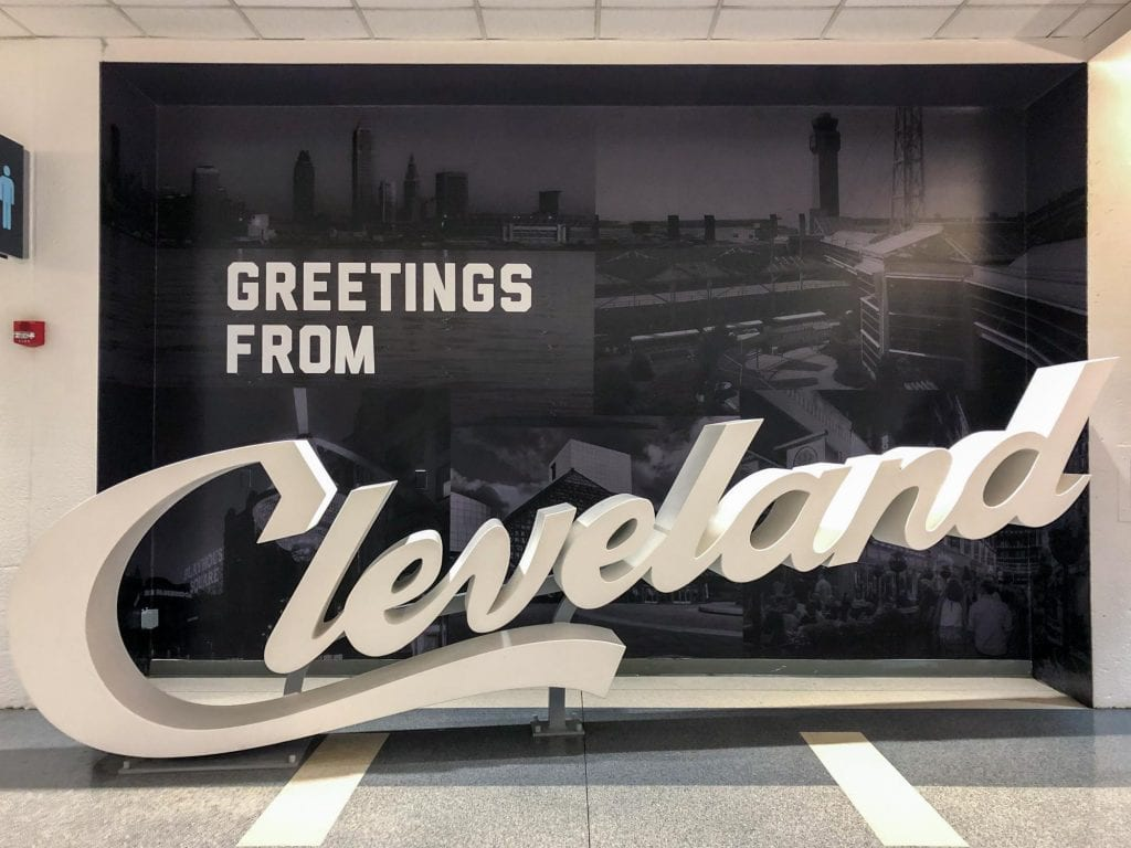 Cleveland script sign at Cleveland Hopkins Airport