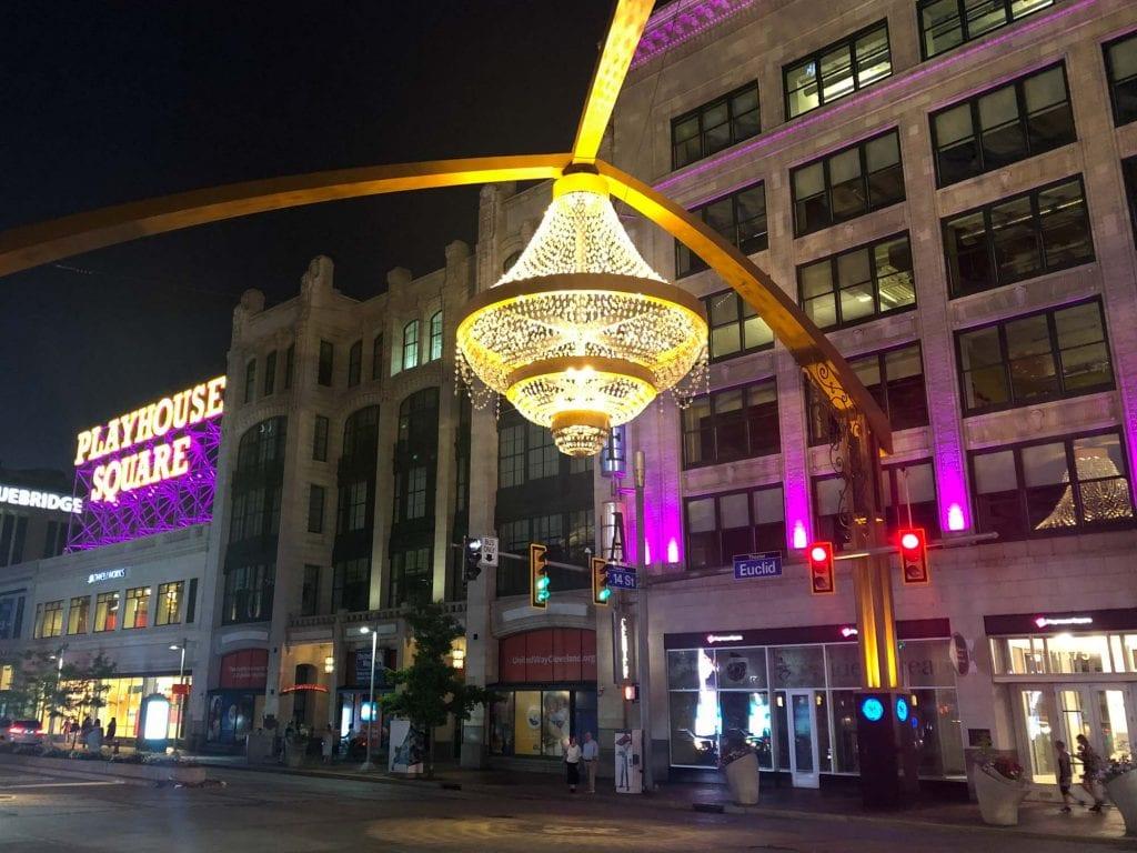 Playhouse Square at night