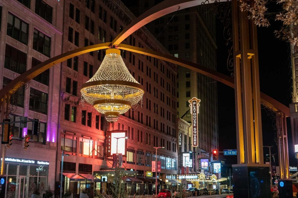 Playhouse Square chandelier at night