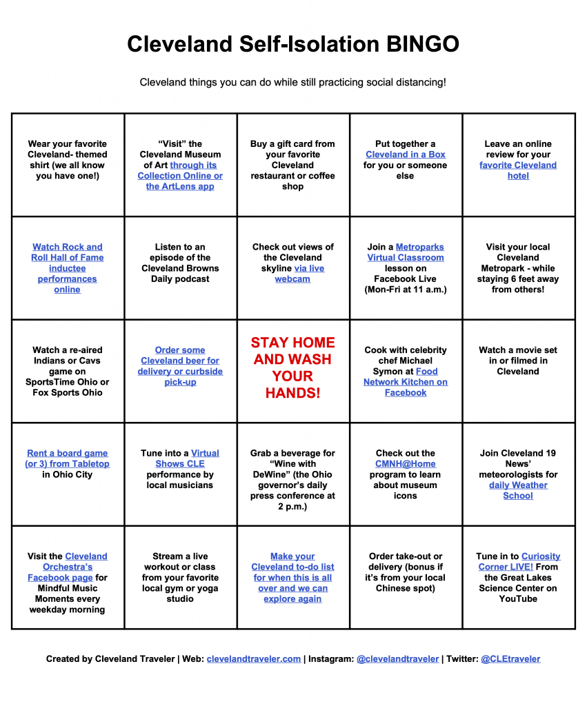 Cleveland Isolation Bingo