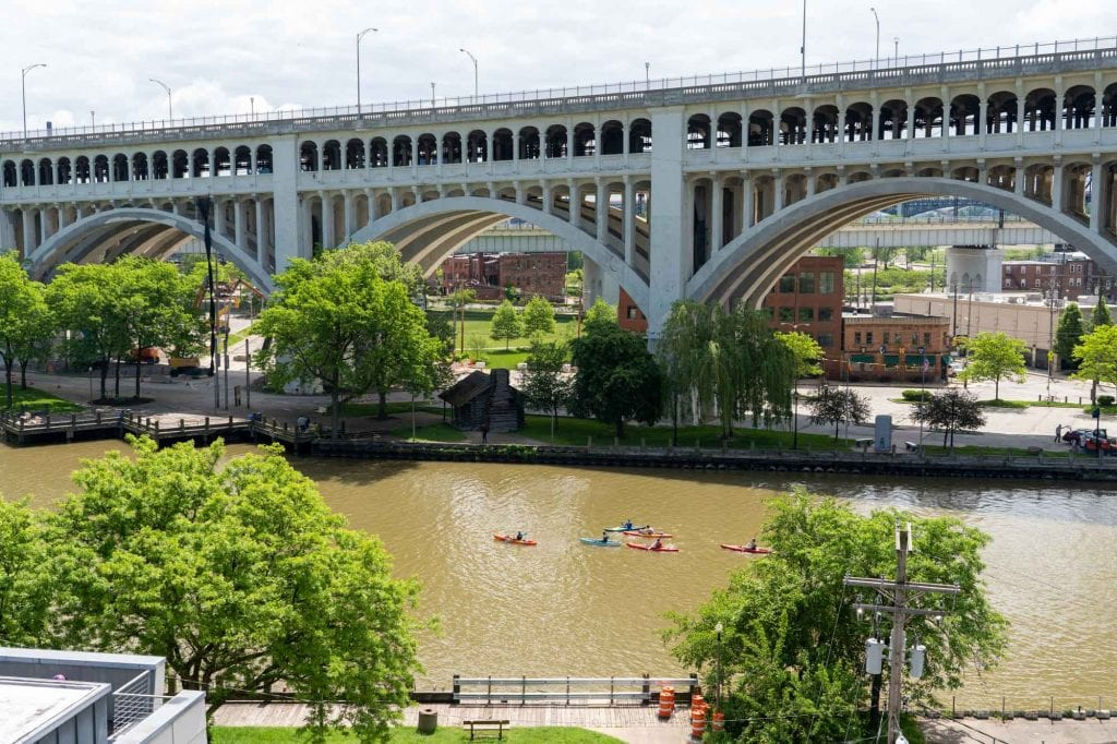 Cuyahoga River in downtown Cleveland