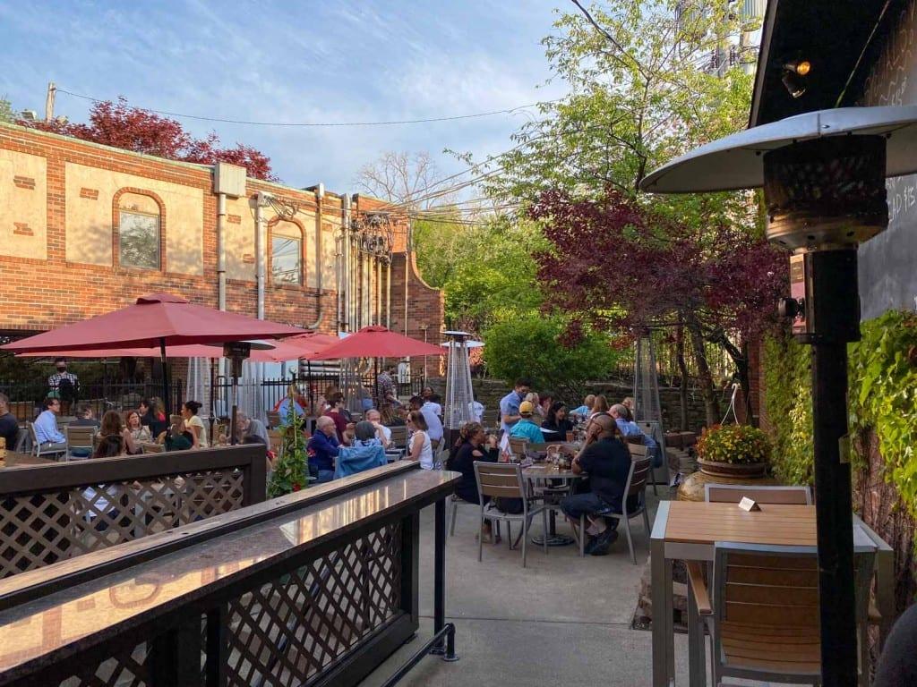 The Fairmount patio in spring