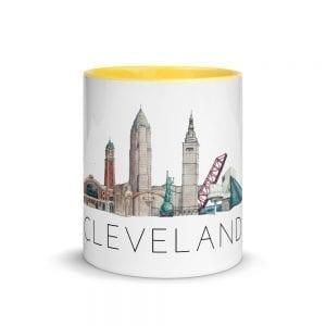 Cleveland skyline multi-color mug centered