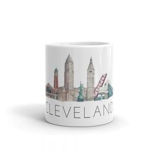 Cleveland skyline white mug centered