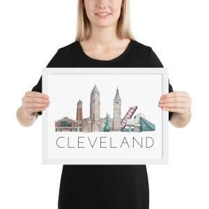 Cleveland skyline framed poster