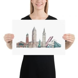 Cleveland skyline poster (no text)