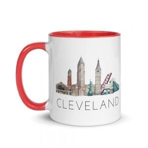 Cleveland skyline multi-color mug double-sided