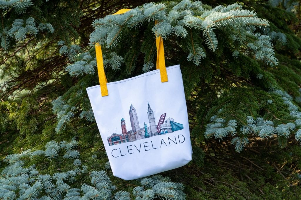 Cleveland skyline tote