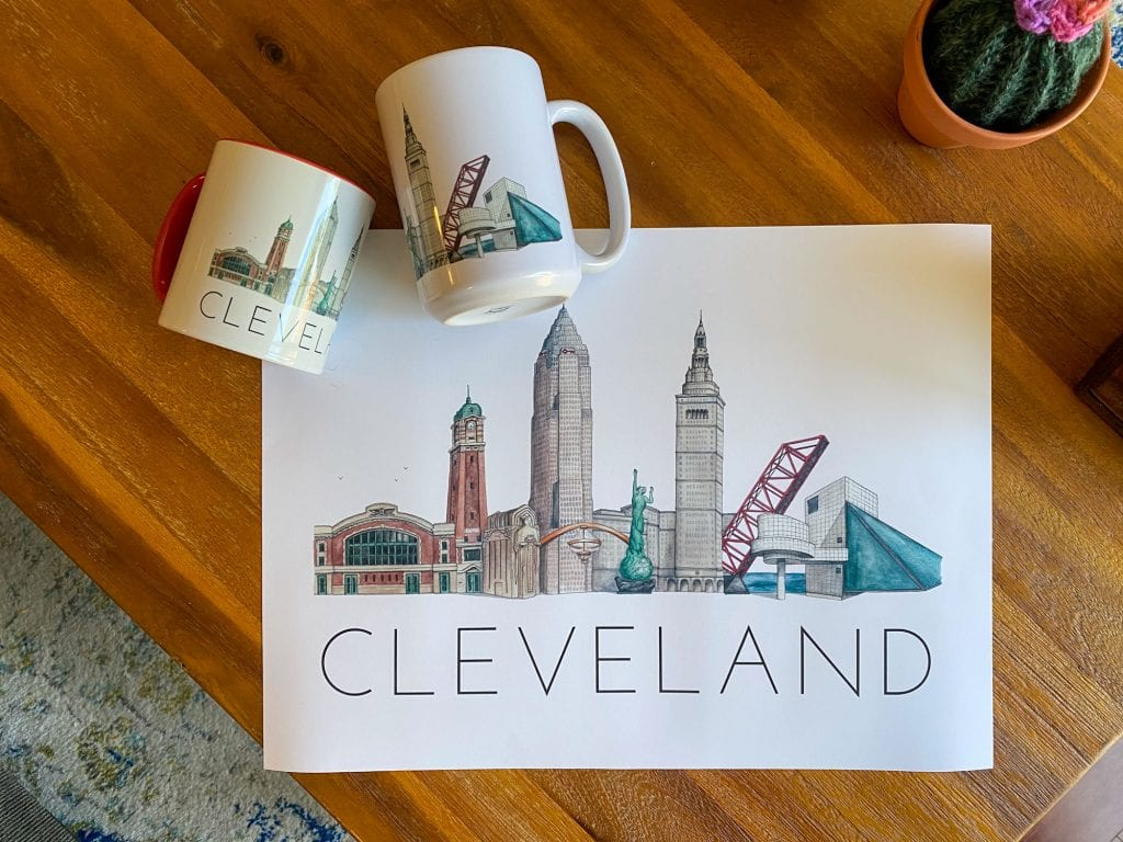 Cleveland poster and mugs