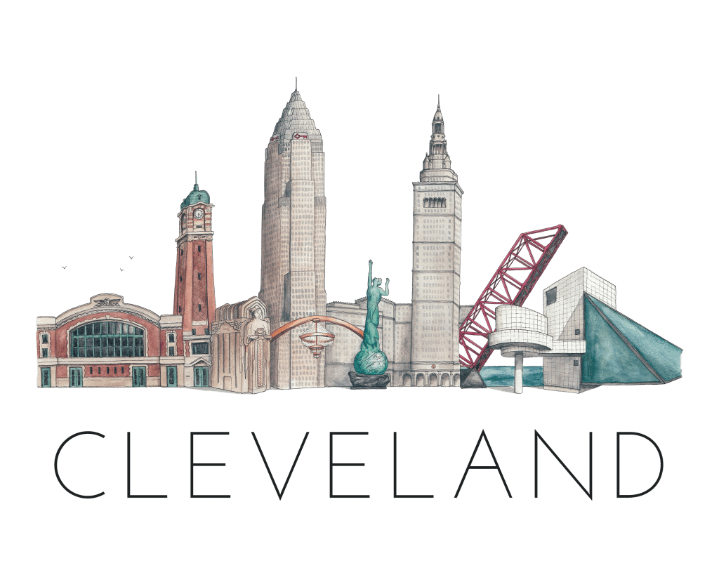 Cleveland skyline illustration