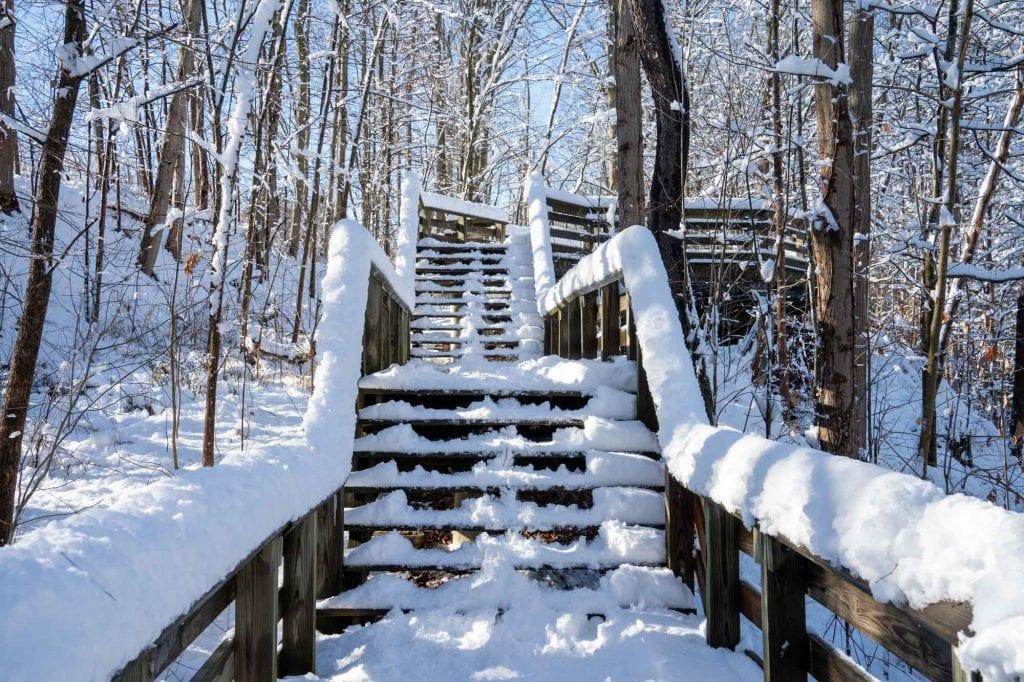 Brandywine Falls trail in snow