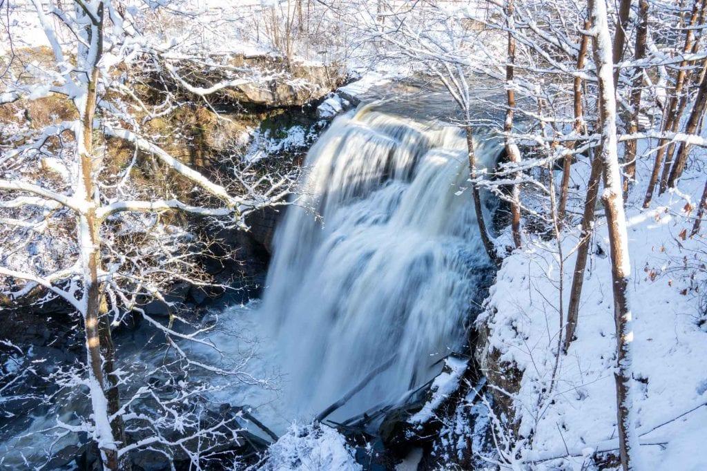 Brandywine Falls in snow