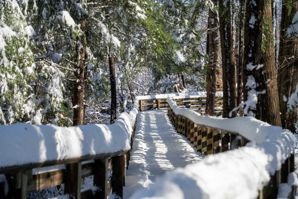 Brandywine Falls boardwalk in winter