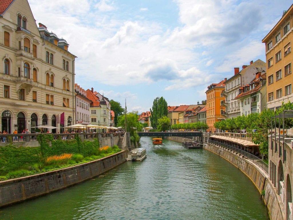 Riverside cafes in Ljubljana, Slovenia