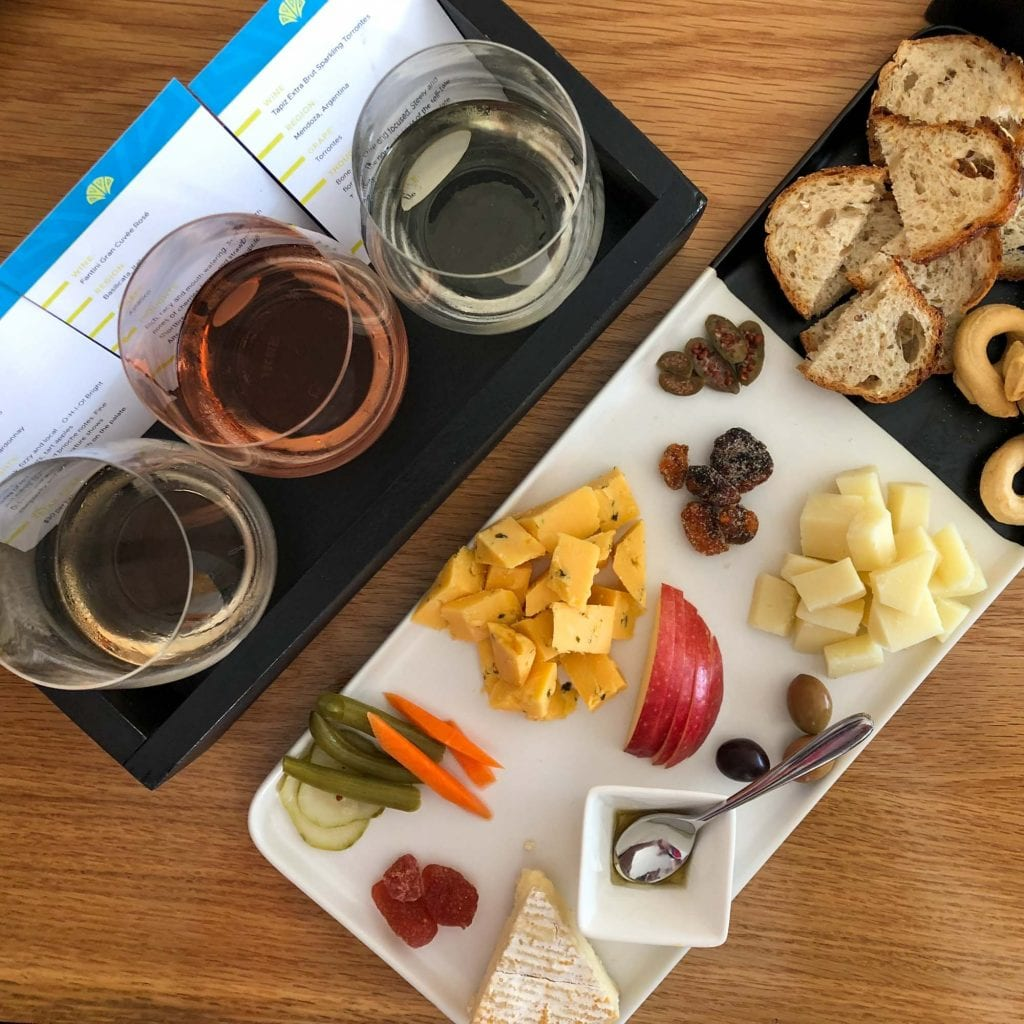 Wine and cheese at Flight Cleveland
