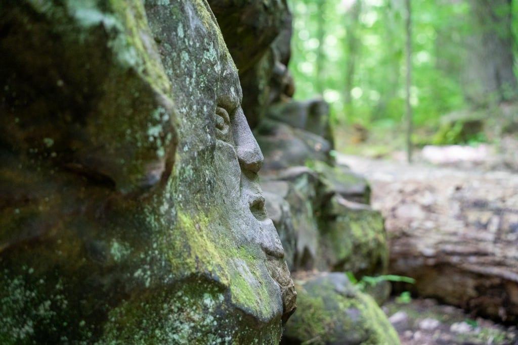 Carved face at Worden's Ledges